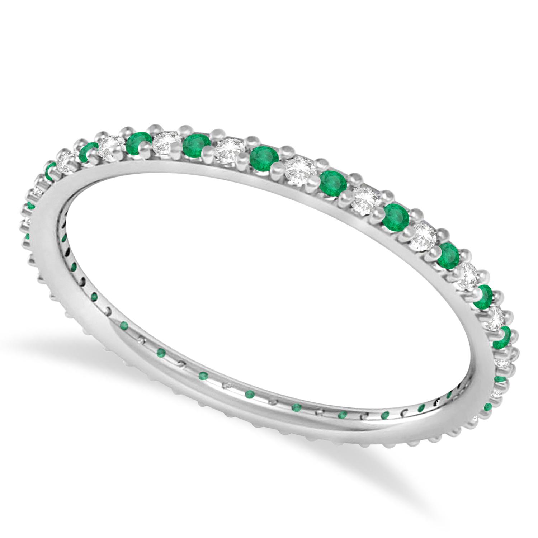 Petite Diamond & Emerald Eternity Wedding Band 14k White Gold (0.25ct)