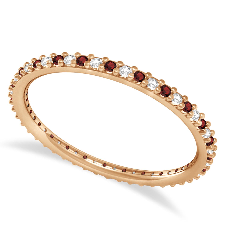 Petite Diamond & Garnet Eternity Wedding Band 14k Rose Gold (0.25ct)