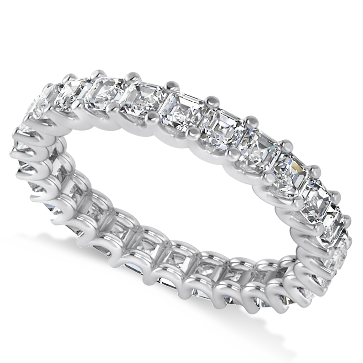 It is a photo of Radiant-Cut Diamond Eternity Wedding Band Ring 38k White Gold (38.38ct)