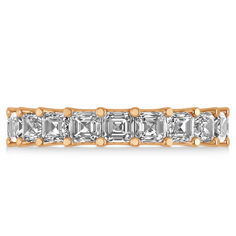 radiantcut diamond eternity wedding band ring 14k rose