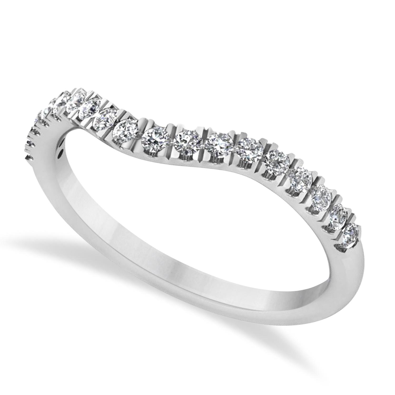 Diamond Curved Ring Wedding Band 14k White Gold (0.27ct)