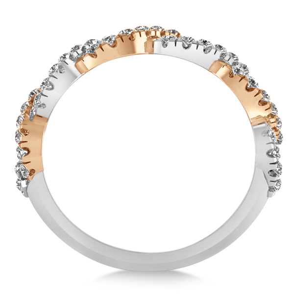 Diamond Wedding Band in 14K Twisted Two Tone Gold