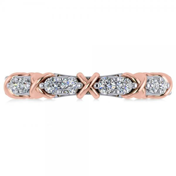 Diamond XOXO Ring Wedding Band 14k Two-Tone Rose Gold (0.80ct)