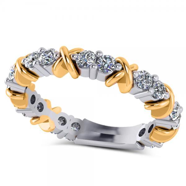 Diamond XOXO Ring Wedding Band 14k Two-Tone Yellow Gold (0.80ct)