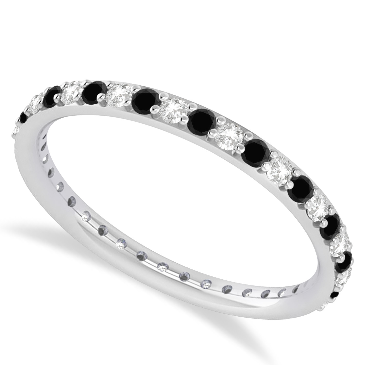 Black & White Diamond Eternity Wedding Band 14k White Gold (0.57ct)