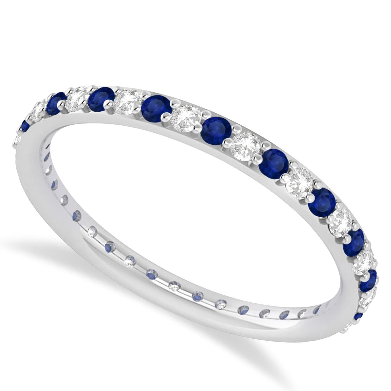 Diamond & Blue Sapphire Eternity Wedding Band 14k White Gold (0.57ct)