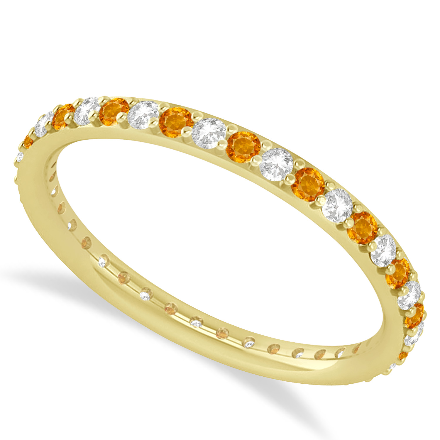Diamond Amp Citrine Eternity Wedding Band 14k Yellow Gold 0