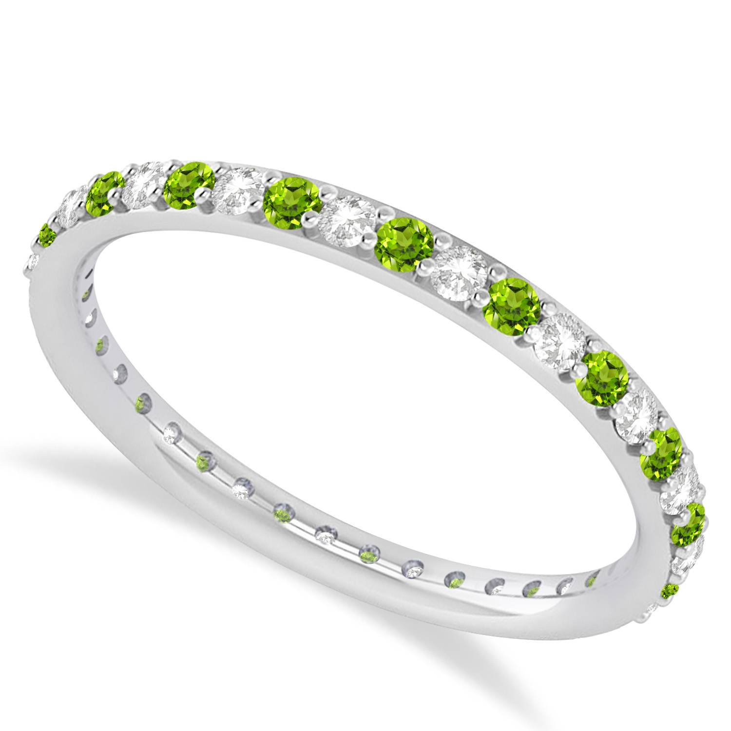 Diamond & Peridot Eternity Wedding Band 14k White Gold (0.57ct)