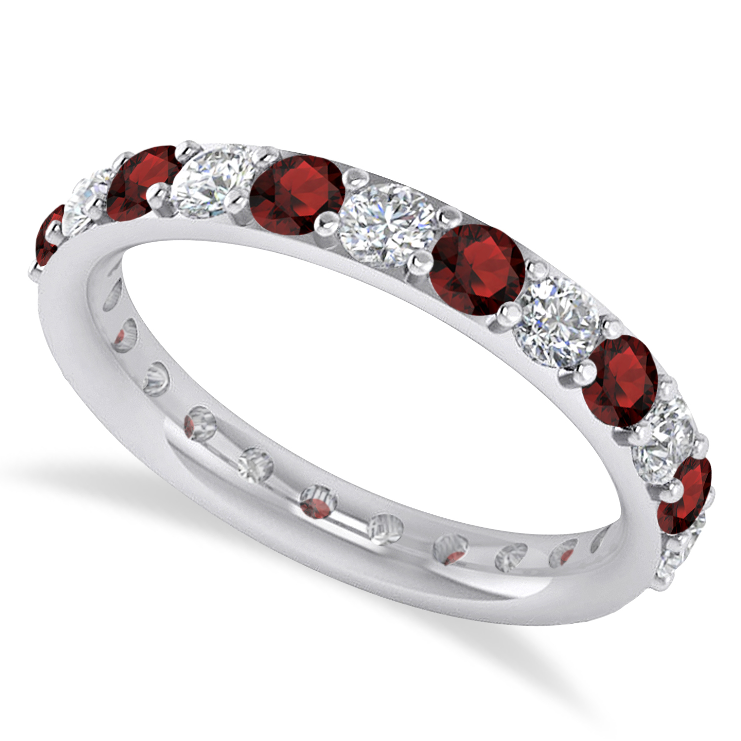 Garnet Ring Bands: Diamond & Garnet Eternity Wedding Band 14k White Gold 1
