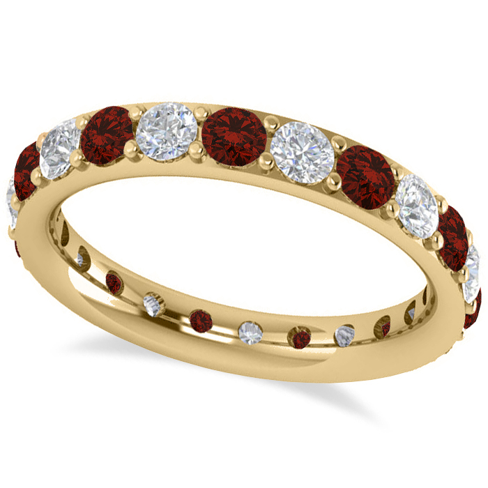 Garnet Ring Bands: Diamond & Garnet Eternity Wedding Band 14k Yellow Gold 1