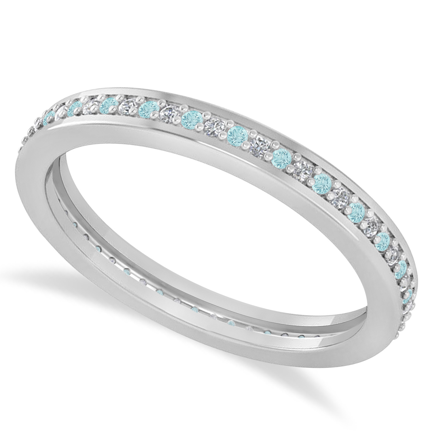 Diamond Amp Aquamarine Eternity Wedding Band 14k White Gold