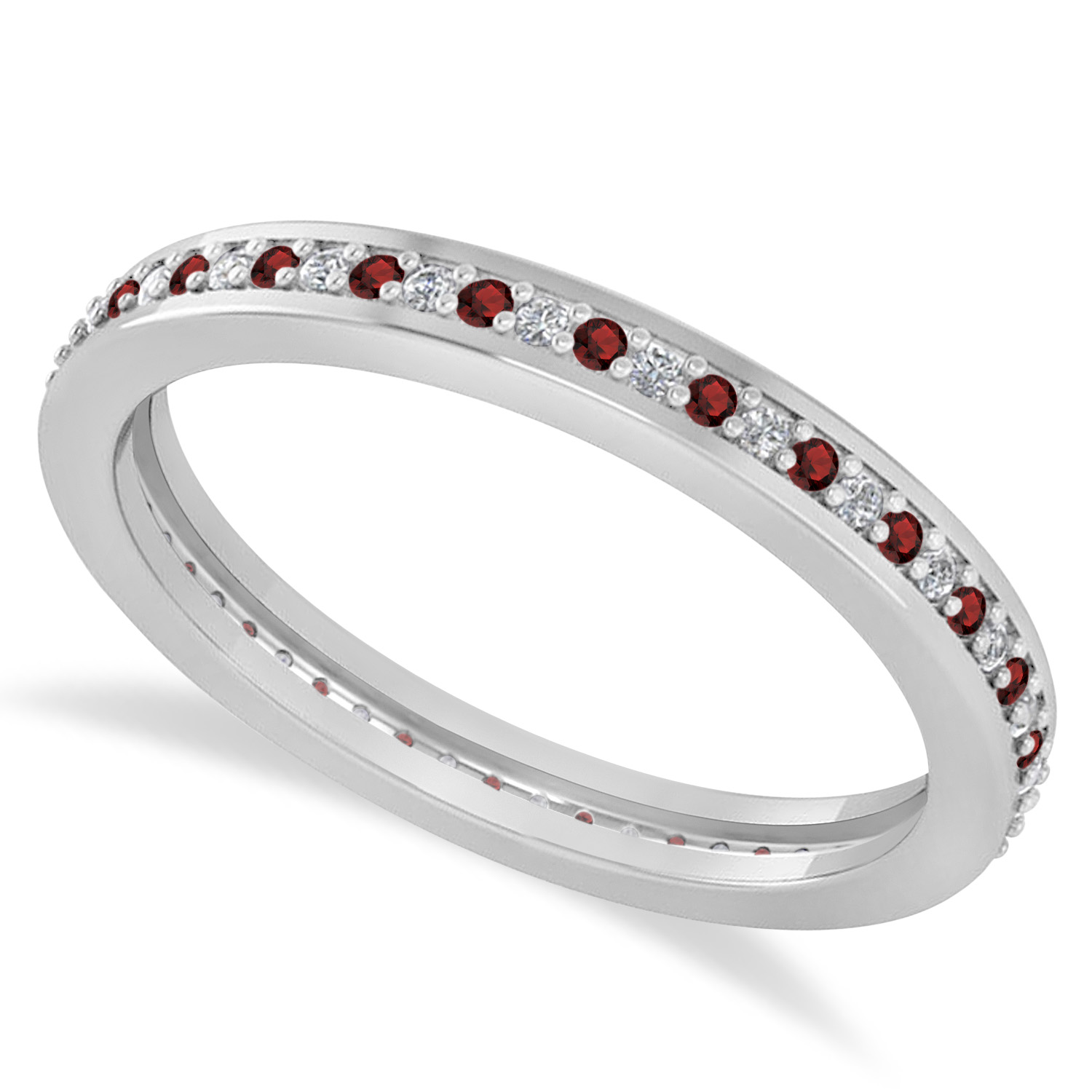 Garnet Ring Bands: Diamond & Garnet Eternity Wedding Band 14k White Gold 0