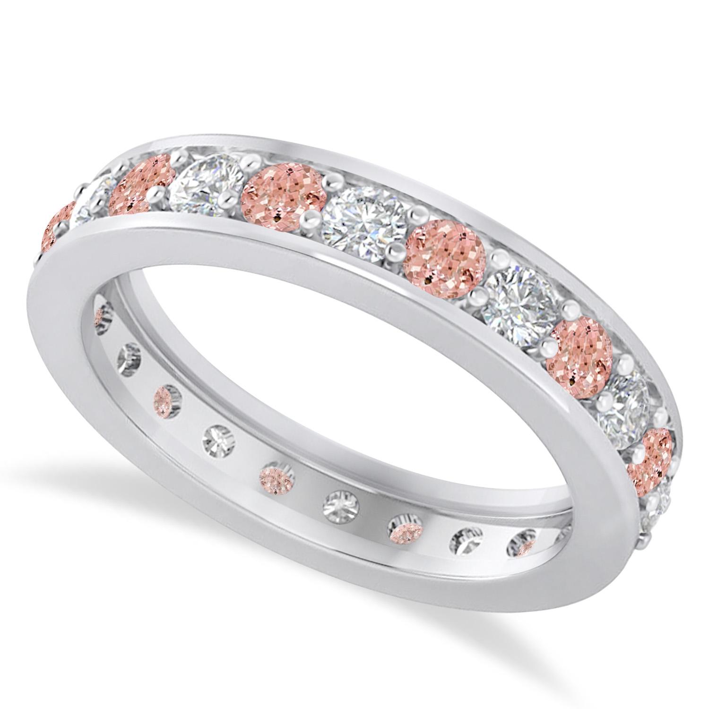 d5854d04191aa Diamond & Morganite Eternity Wedding Band 14k White Gold (1.44ct)