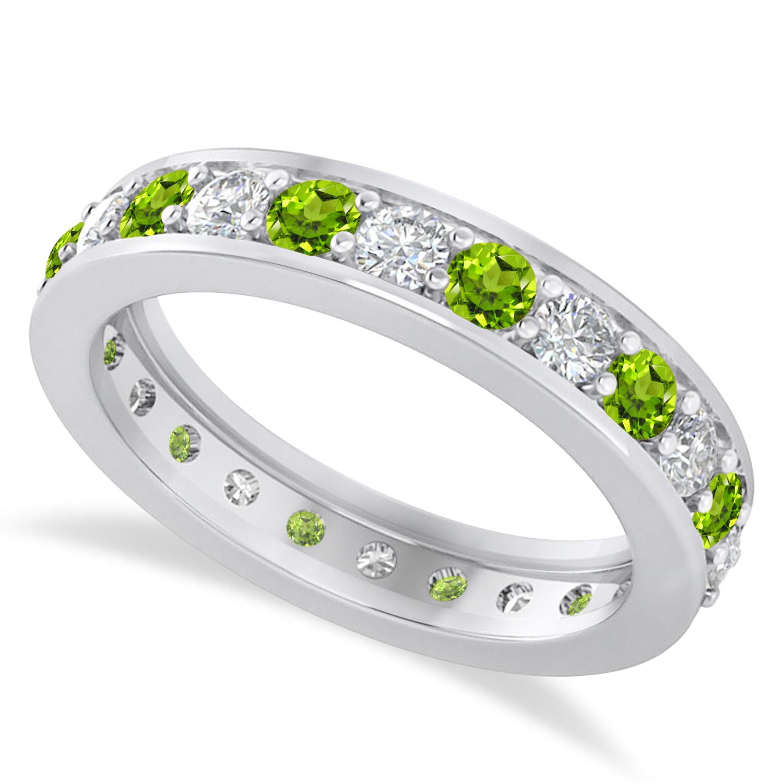 Diamond & Peridot Eternity Wedding Band 14k White Gold (1.44ct)