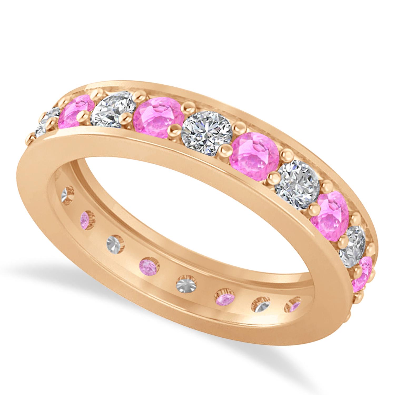 Pink Gold Diamond Bands: Diamond & Pink Sapphire Eternity Wedding Band 14k Rose