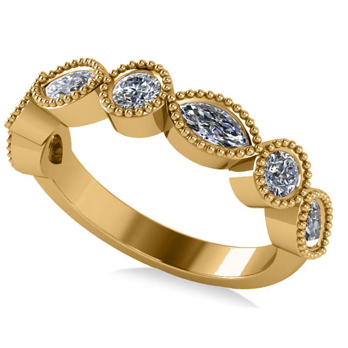 Marquise & Round Diamond Milgrain Edged Band 14k Yellow Gold (0.90ct)