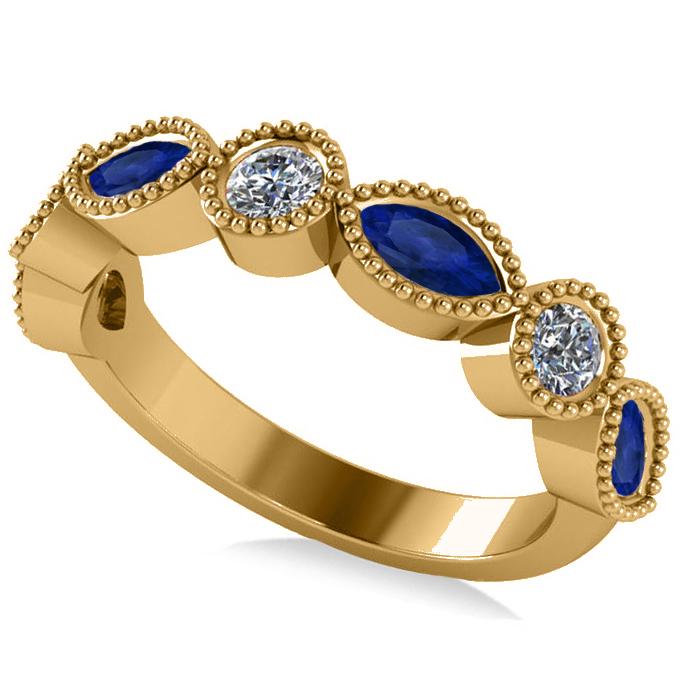 Marquise & Round Diamond & Blue Sapphire Band 14k Yellow Gold (0.90ct)