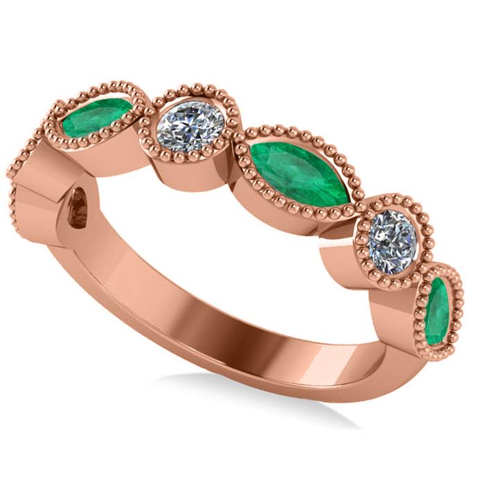 Marquise & Round Diamond & Emerald Band 14k Rose Gold (0.90ct)