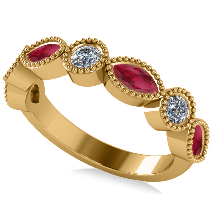 Marquise & Round Diamond & Ruby Band 14k Yellow Gold (0.90ct)