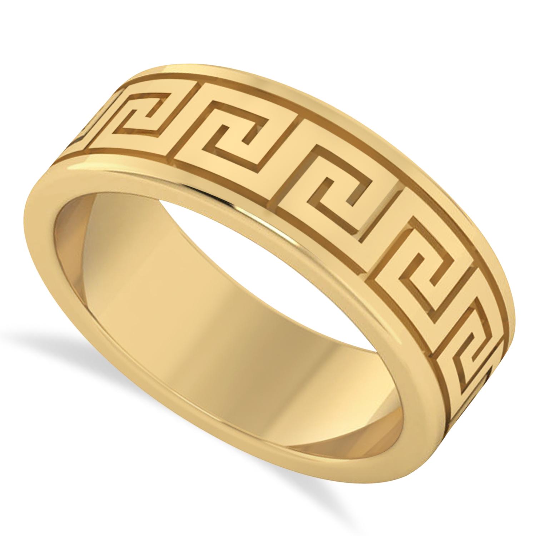 Men 39 s greek key eternity wedding band 14k yellow gold for Mens eternity wedding band