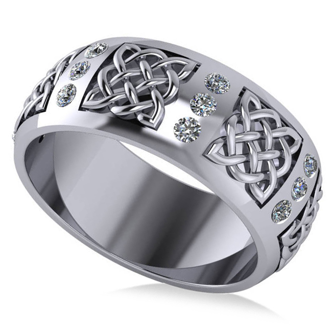 Celtic Diamond Wedding Ring Band 14k White Gold (0.24ct)