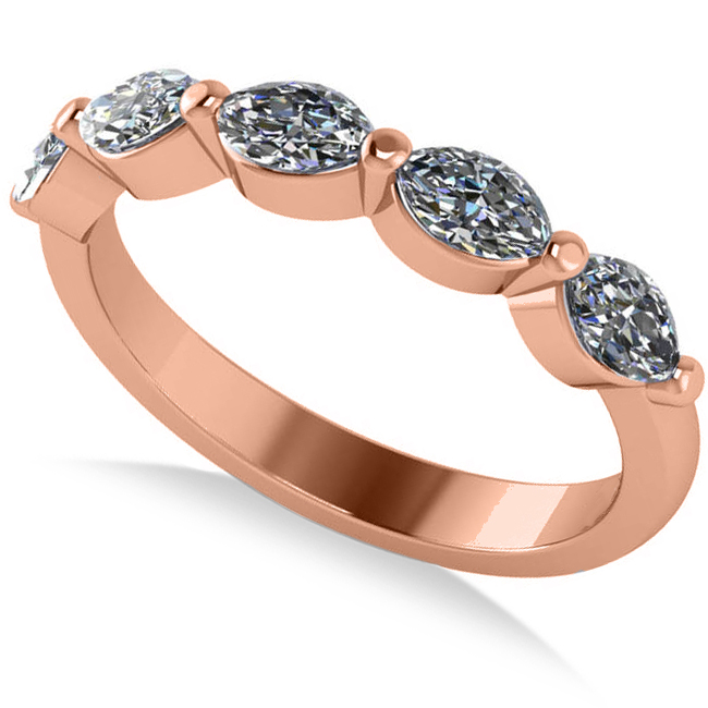 Marquise Ring Bands: Five Stone Marquise Diamond Ring Wedding Band 14k Rose