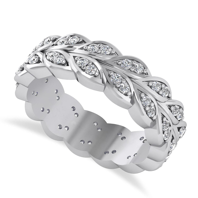 Diamond Leaf Wedding Ring Band 14k White Gold (0.60ct)
