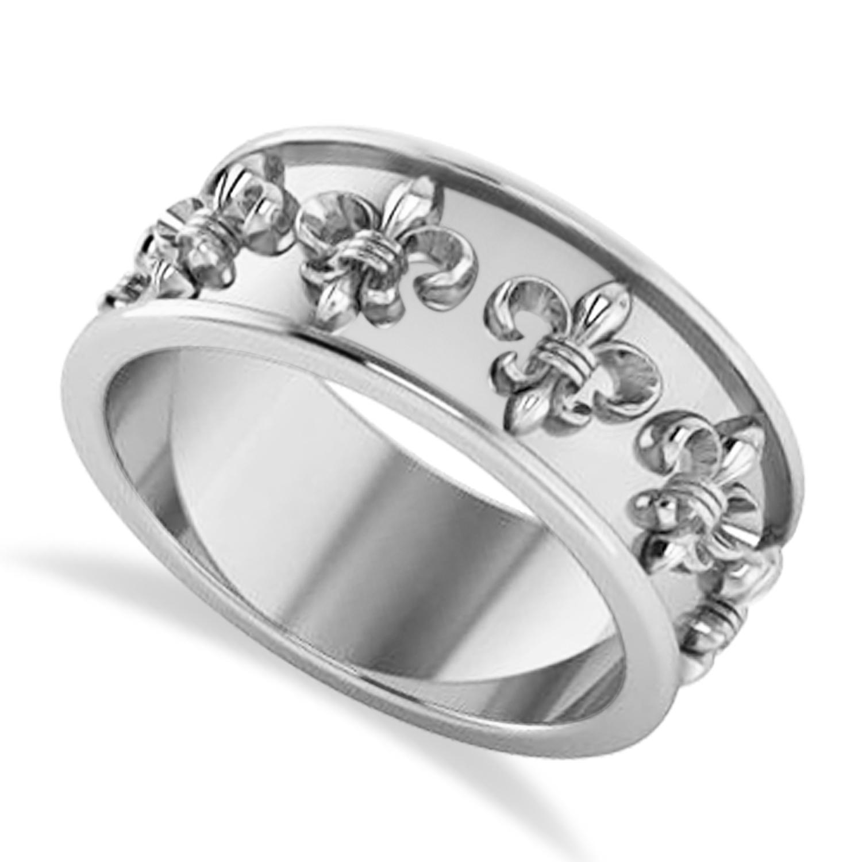 Fleur De Lis Unisex Ring/Wedding Band 14k White Gold