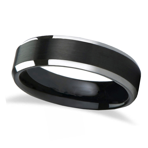 Beveled Edge with Black Brushed Carbide Tungsten Wedding Band (4mm)