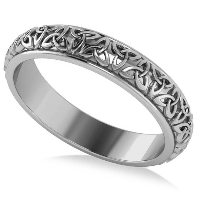 Celtic Knot Infinity Wedding Band Ring 14K White Gold