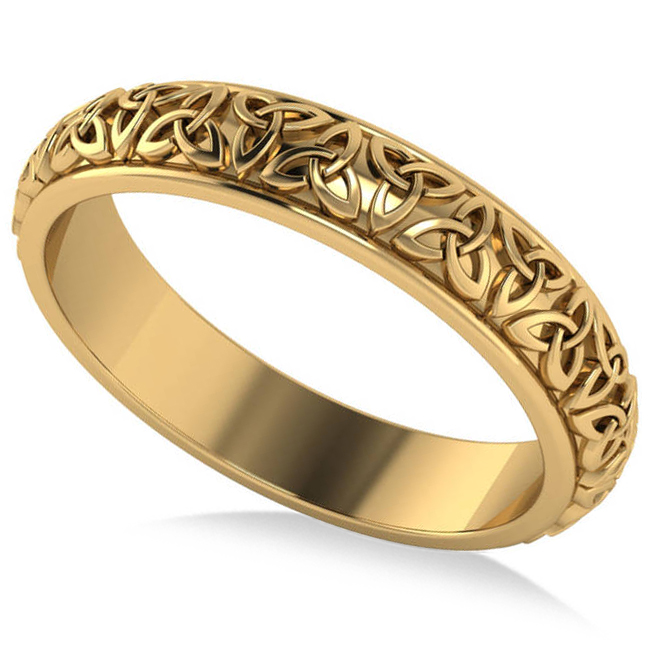 Celtic Knot Infinity Wedding Band Ring 14K Yellow Gold