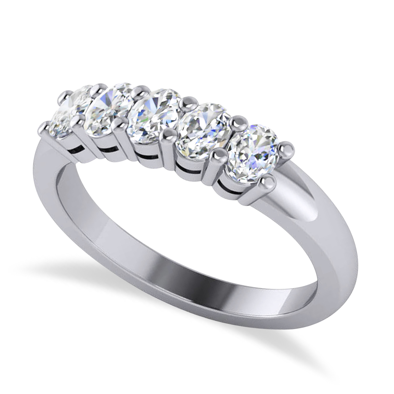 Oval Diamond Five Stone Wedding Band 14k White Gold (1.00ct)