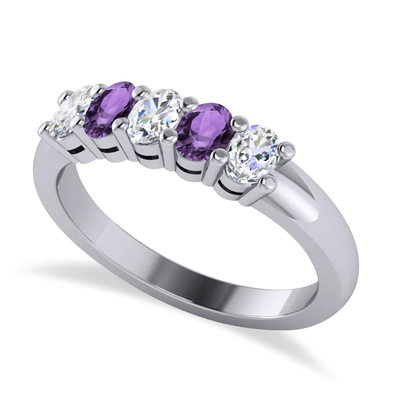Oval Diamond & Amethyst Five Stone Ring 14k White Gold (1.00ct)