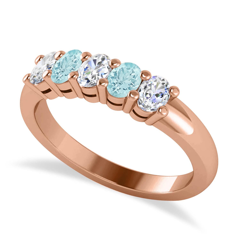 Oval Diamond & Aquamarine Five Stone Ring 14k Rose Gold (1.00ct)