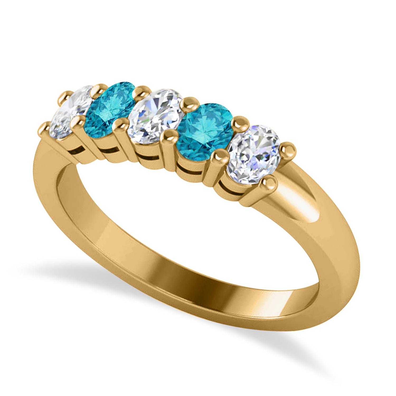 Oval Blue & White Diamond Five Stone Ring 14k Yellow Gold (1.00ct)