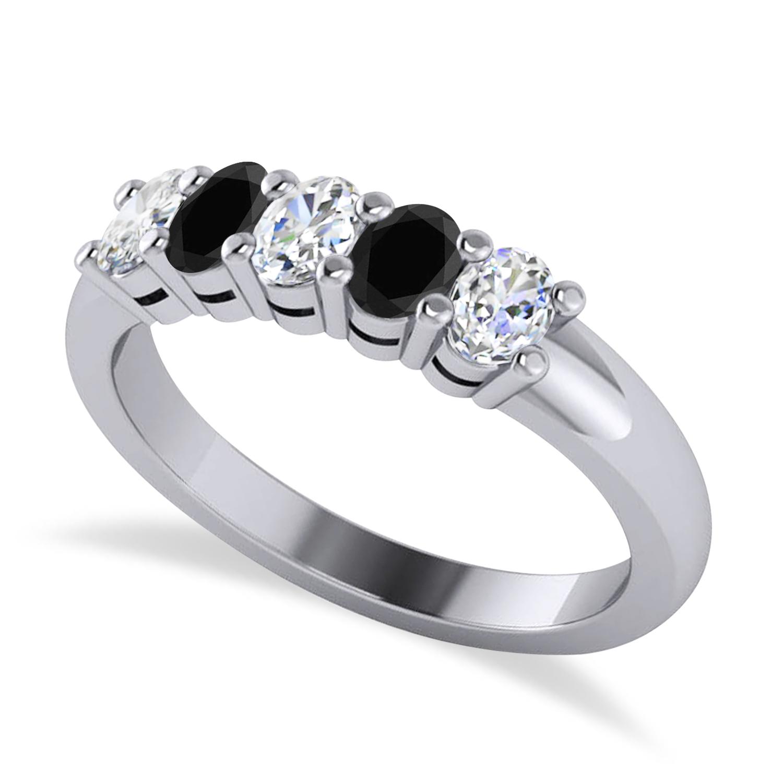 Oval Black & White Diamond Five Stone Ring 14k White Gold (1.00ct)