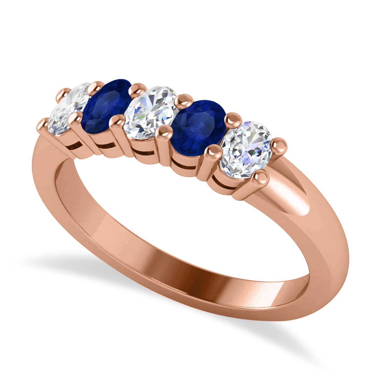 Oval Diamond & Blue Sapphire Five Stone Ring 14k Rose Gold (1.00ct)