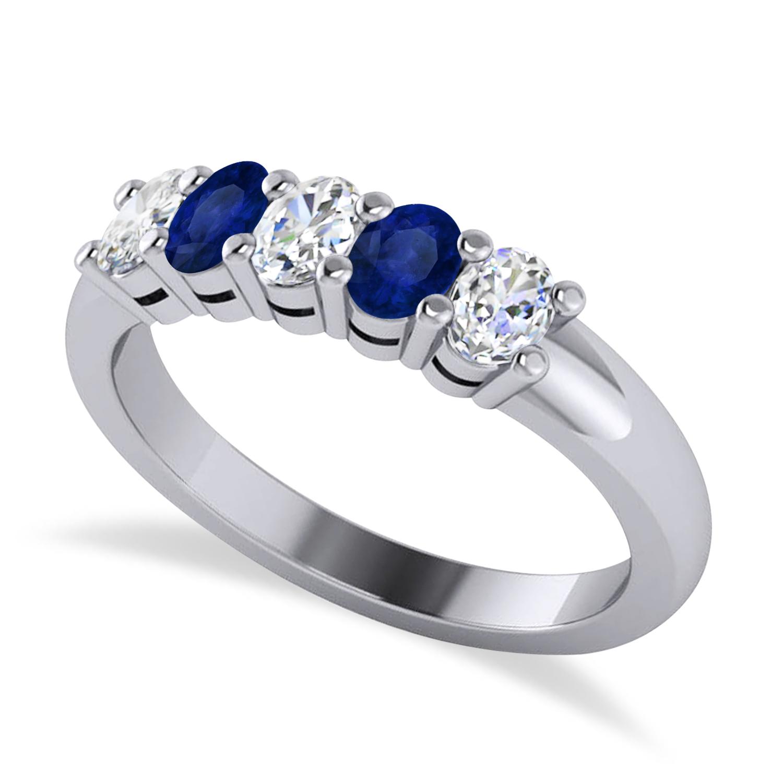Oval Diamond & Blue Sapphire Five Stone Ring 14k White Gold (1.00ct)