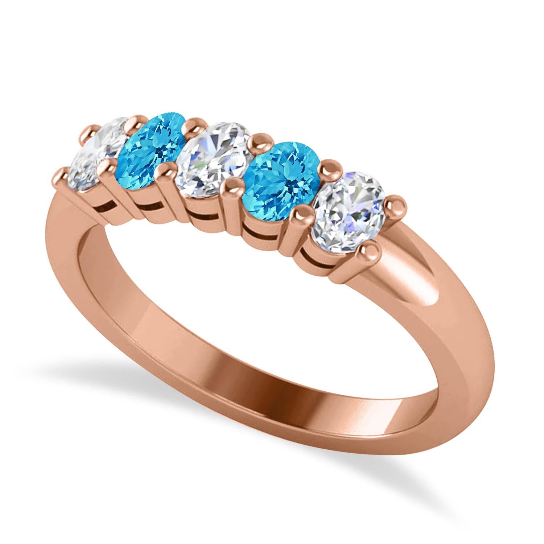 Oval Diamond & Blue Topaz Five Stone Ring 14k Rose Gold (1.00ct)