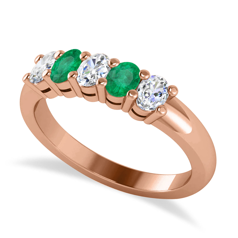 Oval Diamond & Emerald Five Stone Ring 14k Rose Gold (1.00ct)