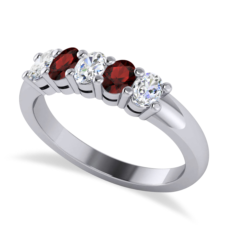 Oval Diamond & Garnet Five Stone Ring 14k White Gold (1.00ct)