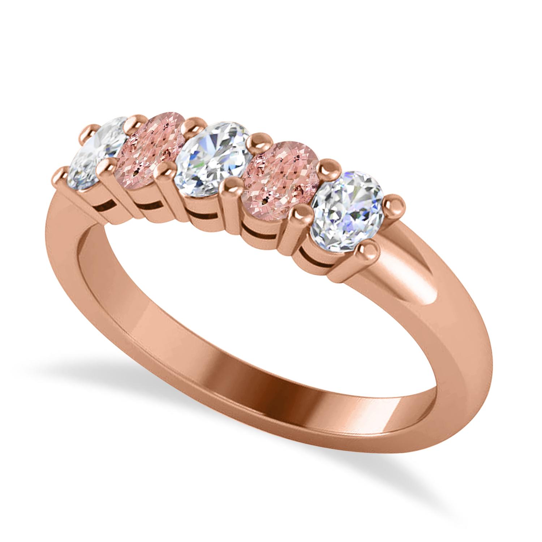 Oval Diamond & Morganite Five Stone Ring 14k Rose Gold (1.00ct)