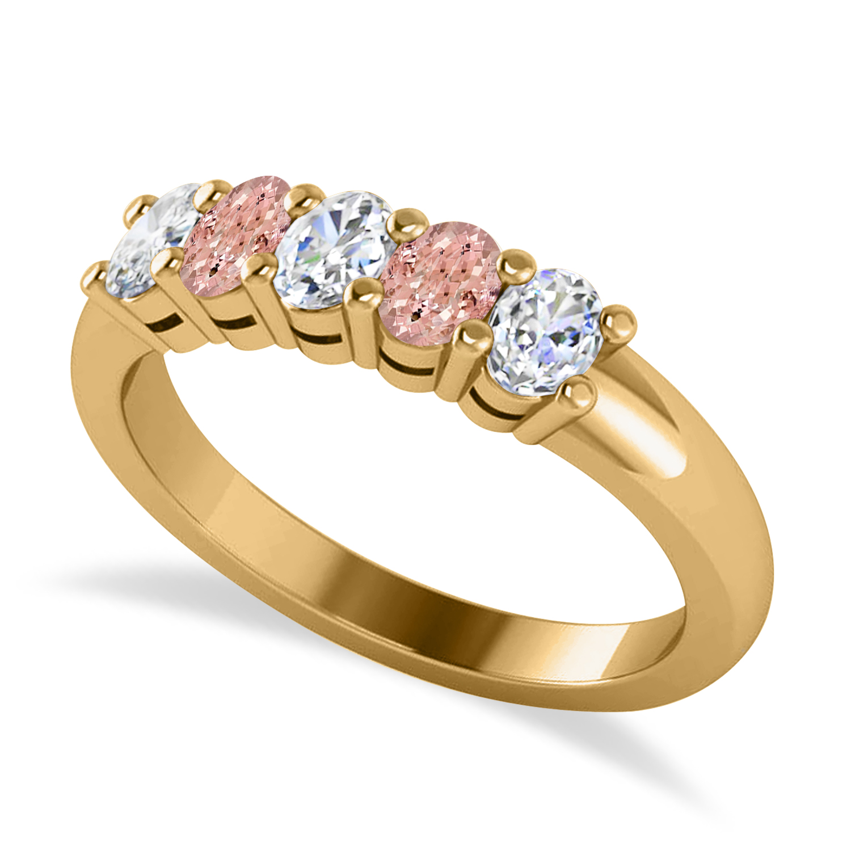 Oval Diamond & Morganite Five Stone Ring 14k Yellow Gold (1.00ct)