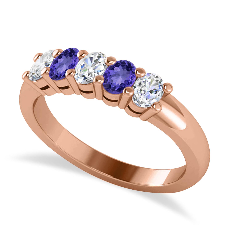 Oval Diamond & Tanzanite Five Stone Ring 14k Rose Gold (1.00ct)