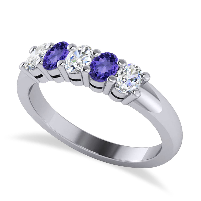 Oval Diamond & Tanzanite Five Stone Ring 14k White Gold (1.00ct)