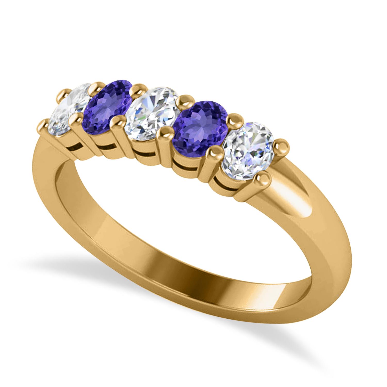 Oval Diamond & Tanzanite Five Stone Ring 14k Yellow Gold (1.00ct)