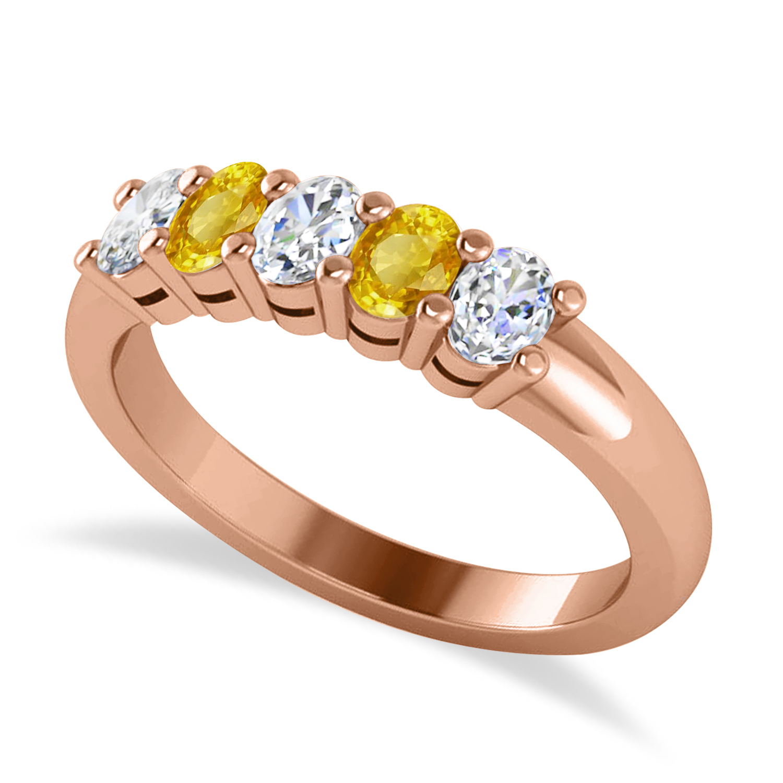 Oval Diamond & Yellow Sapphire Five Stone Ring 14k Rose Gold (1.00ct)