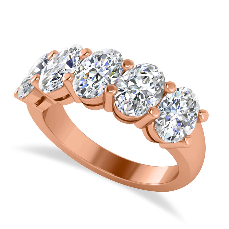 Oval Diamond Five Stone Wedding Band 14k Rose Gold (5.00ct)