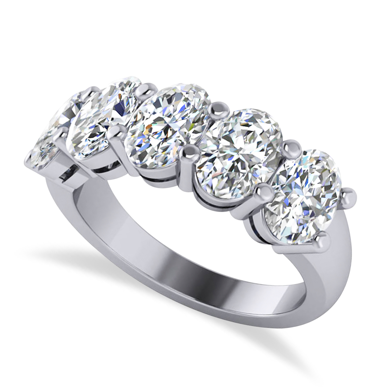 Oval Diamond Five Stone Wedding Band 14k White Gold (5.00ct)