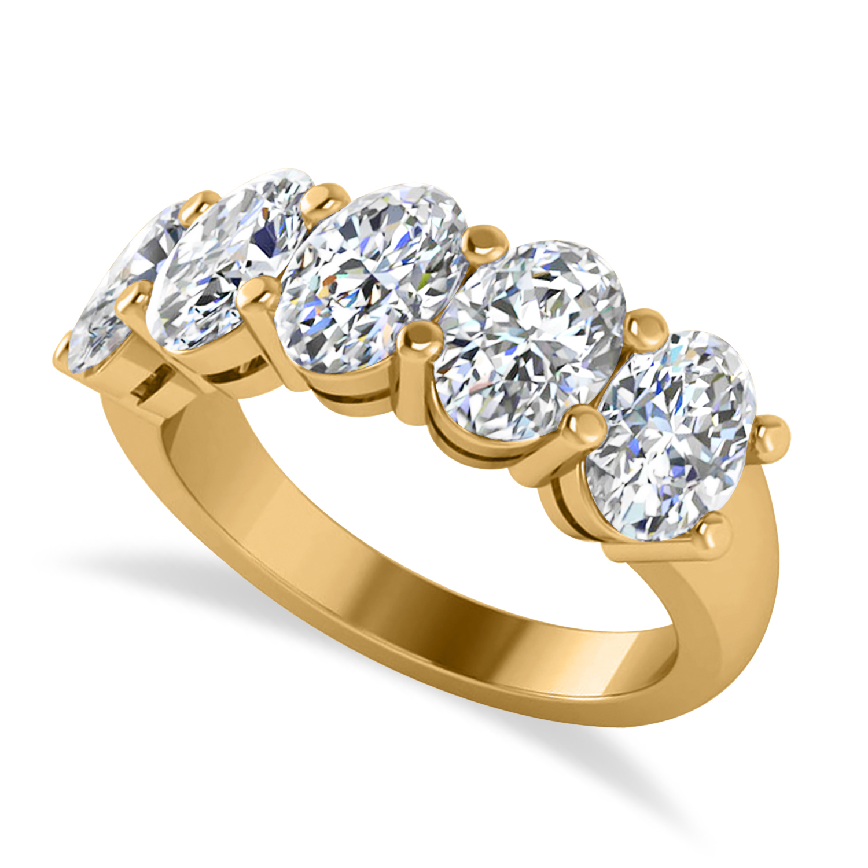 Oval Diamond Five Stone Wedding Band 14k Yellow Gold (5.00ct)